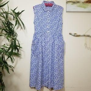 April Cornell blue floral dress XL
